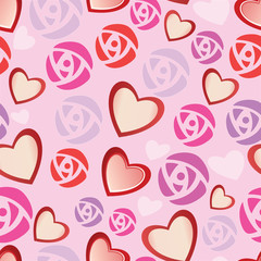 rose St. Valentine's Day heart vector pattern