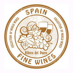 Grunge rubber stamp with words Spain, Fine Wines, vector