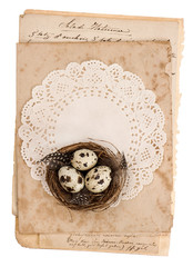 old paper sheets with easter eggs decoration