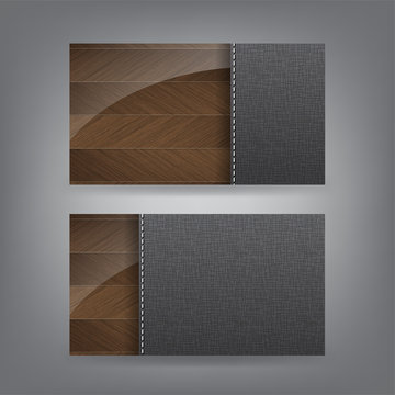 Wood and textile theme business card template