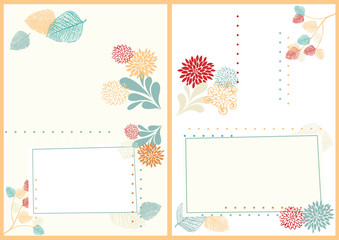 Two-Sided Postcard with Leaves and Flowers
