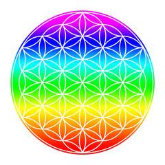 Blume des Lebens - Regenbogen 3