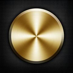 golden knob on black metal background