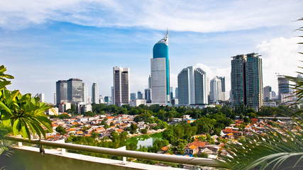 Photo sur Toile Indonésie Panoramic cityscape of Indonesia capital city Jakarta