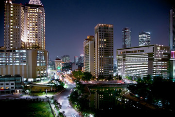 Fototapete - Cityscape of jakarta at night, Java, Indonesia.