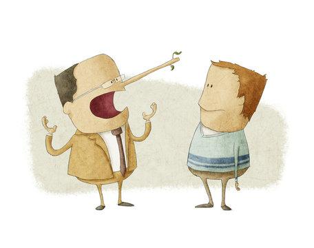 ethics concept of business boss  lying  an employee