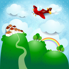 Photo sur Toile Avion, ballon Fantasy landscape with airplane