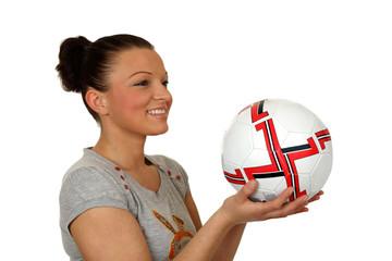 Fototapeta Dziewczyna uśmiechnięta z piłką do gry. obraz