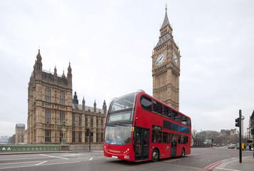 Foto op Aluminium Londen rode bus Big Ben with red double-decker in London, UK