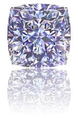 Square shaped diamond on glossy white