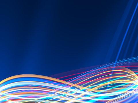 Colorful lightwaves on dark blue background
