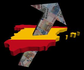 European Euros arrow and Spain map flag illustration