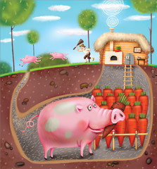 Smart Pig on tha farm. llustration.