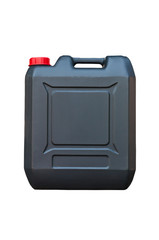 Black jerrycan isolated on white background