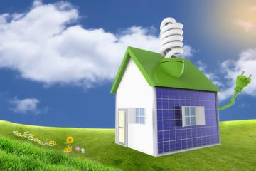 Casa en el campo con paneles solares