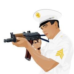 Foto op Canvas Militair U.S. military with Russian gun