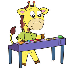 Papiers peints Jeunes enfants Cartoon Giraffe Playing an Electronic Organ