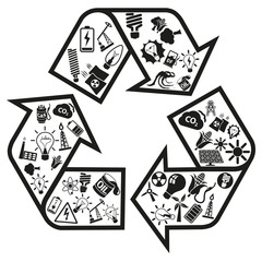 Energy and resource vector icons in recycle arrow