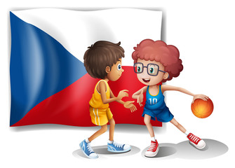 Basketball players in front of the Czech Republic flag