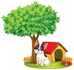Poster de jardin Chiens A doghouse and a dog under a tree