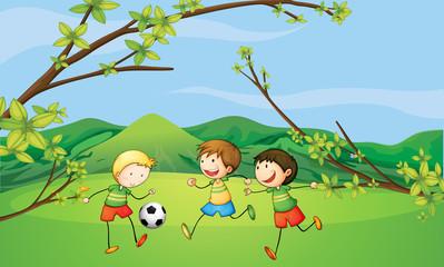 Kids playing football