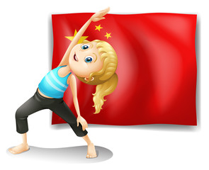 A girl in front of the flag of China