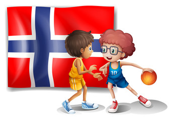 Basketball players in front of the flag of Norway