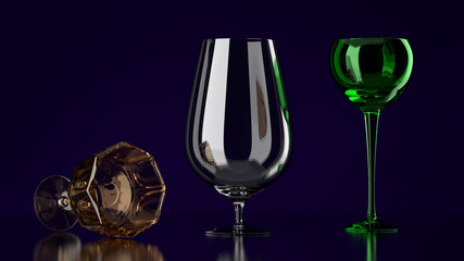 Three Different Glasses with a Dark Background