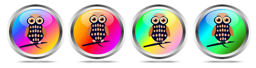 Quattro bottoni colorati con gufi