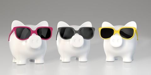 Piggy bank - colorful sunglasses