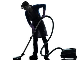 woman maid housework Vacuum Cleaner silhouette