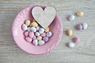 Pink bowl with easter eggs