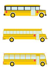 Retro autobusy szkolne na białym tle.