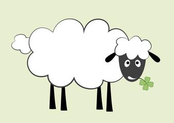 vector illustration of white sheep eating clover