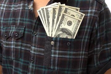 Dollar bills U.S in front pocket.
