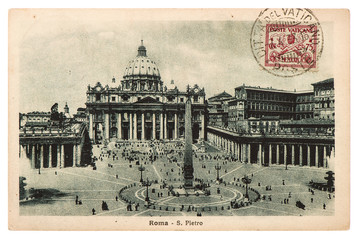 Vintage post card with stamp from Vatican