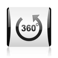 panorama black and white square web glossy icon