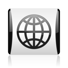 earth black and white square web glossy icon