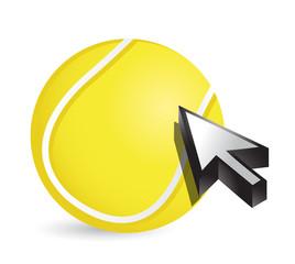 Tennis ball with cursor arrow - sport shopping