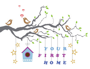 Staande foto Vogels in kooien Your first home house moving-in greeting card