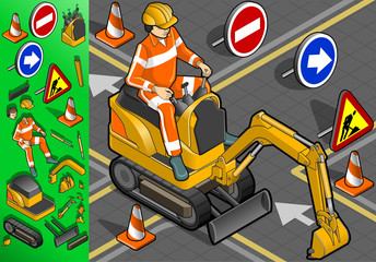 isometric mini excavator with man at work in front view