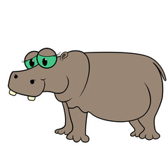 Hippopotamus Cartoon Vector Illustration