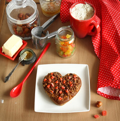Chocolate baking cookies in form heart