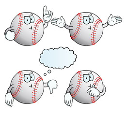 Collection of thinking baseballs with various gestures.