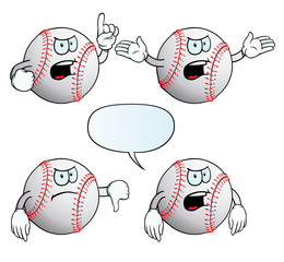 Collection of angry baseballs with various gestures.
