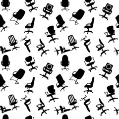 Seamless pattern of Office chairs silhouettes vector illustratio