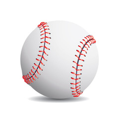 Realistic baseball on a white background.