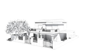 Architectural visualization of a villa