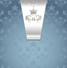 Royal seamless pattern with crown or Royal blue background