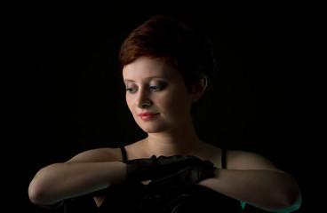 Beautiful redhead woman with short  hair